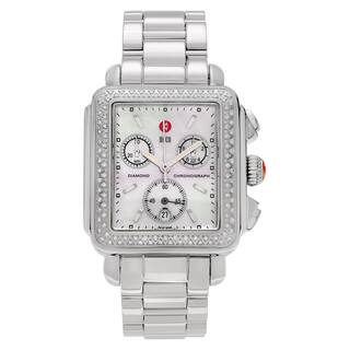 Michele Women's MWW06A000448 'Deco' Stainless Steel 1/2 CT TDW Diamond Mother of Pearl Dial Link Bracelet Watch https://ak1.ostkcdn.com/images/products/14050357/P20665725.jpg?impolicy=medium