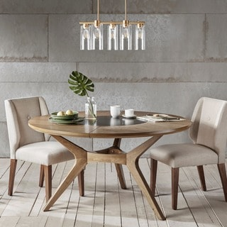 INK IVY Metro Natural Oak Round Dining Table Kitchen Room Tables For Less  Overstock Com