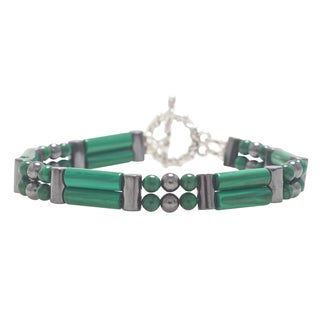Healing Stones for You Malachite Double Power Bracelet 'Activate Psychic Vision'