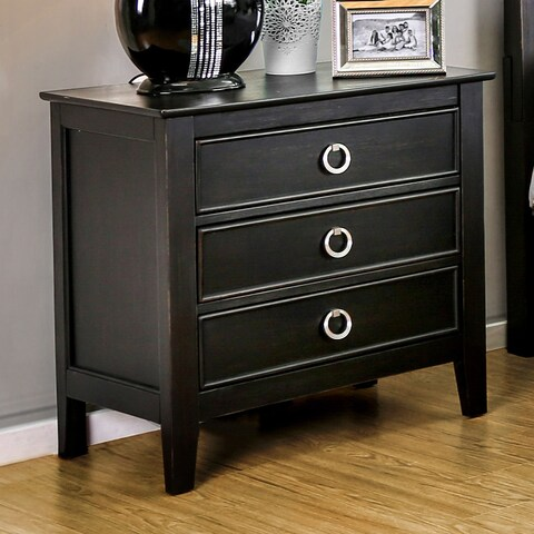 Furniture of America Gailes Transitional Wire-brushed Black 3-drawer Nightstand