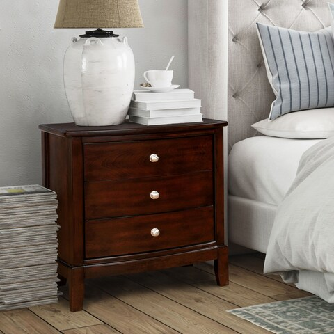 Furniture of America Kami Transitional Brown Cherry 3-drawer Nightstand