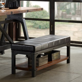 INK+IVY Lancaster Chocolate/ Graphite PU Bench