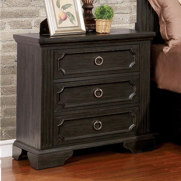 furniture of america hollen wire brushed black 3 drawer nightstand free shipping today. Black Bedroom Furniture Sets. Home Design Ideas
