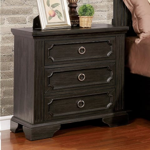 Furniture of America Lern Transitional Grey Solid Wood Nightstand