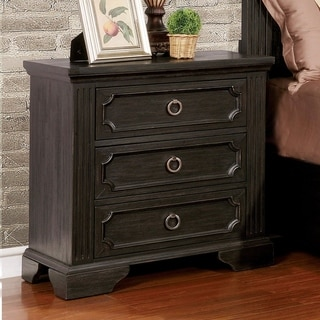 Furniture of America Hollen Wire-brushed Black 3-drawer Nightstand