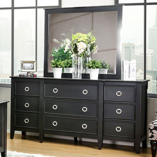 Furniture Of America Gailes Transitional 2 Piece Wire Brushed Black Dresser And Mirror Set