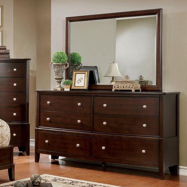 shop furniture of america kami transitional 2 piece brown cherry dresser and mirror set on. Black Bedroom Furniture Sets. Home Design Ideas