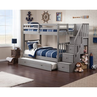 Cascade Staircase Brushed Grey Twin-over-twin Trundle Bunk Bed