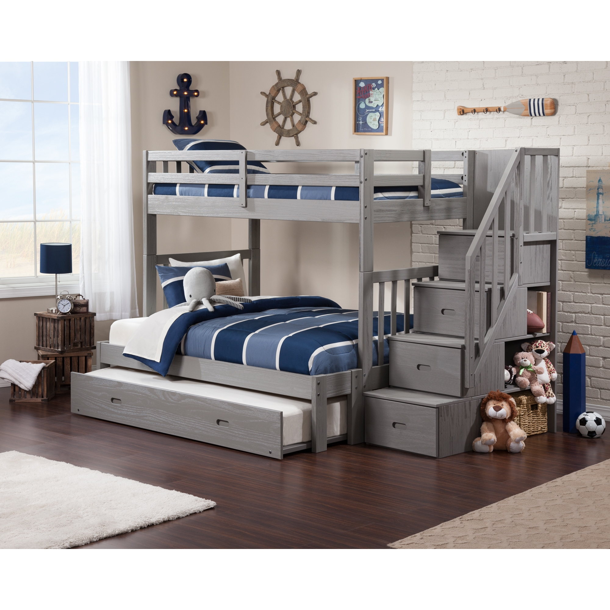 Cascade Staircase Brushed Grey Twin Over Full Bunk Bed With Trundle Bed Overstock 14050695