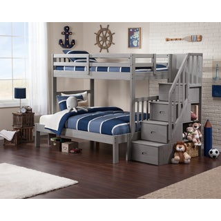 Cascade Staircase Brushed Grey Twin-over-full Bunk Bed