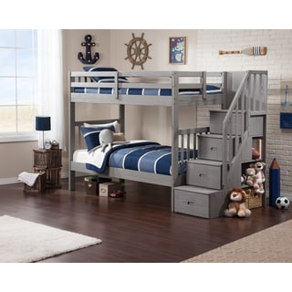 Cascade Staircase Brushed Grey Twin-over-twin Bunk Bed
