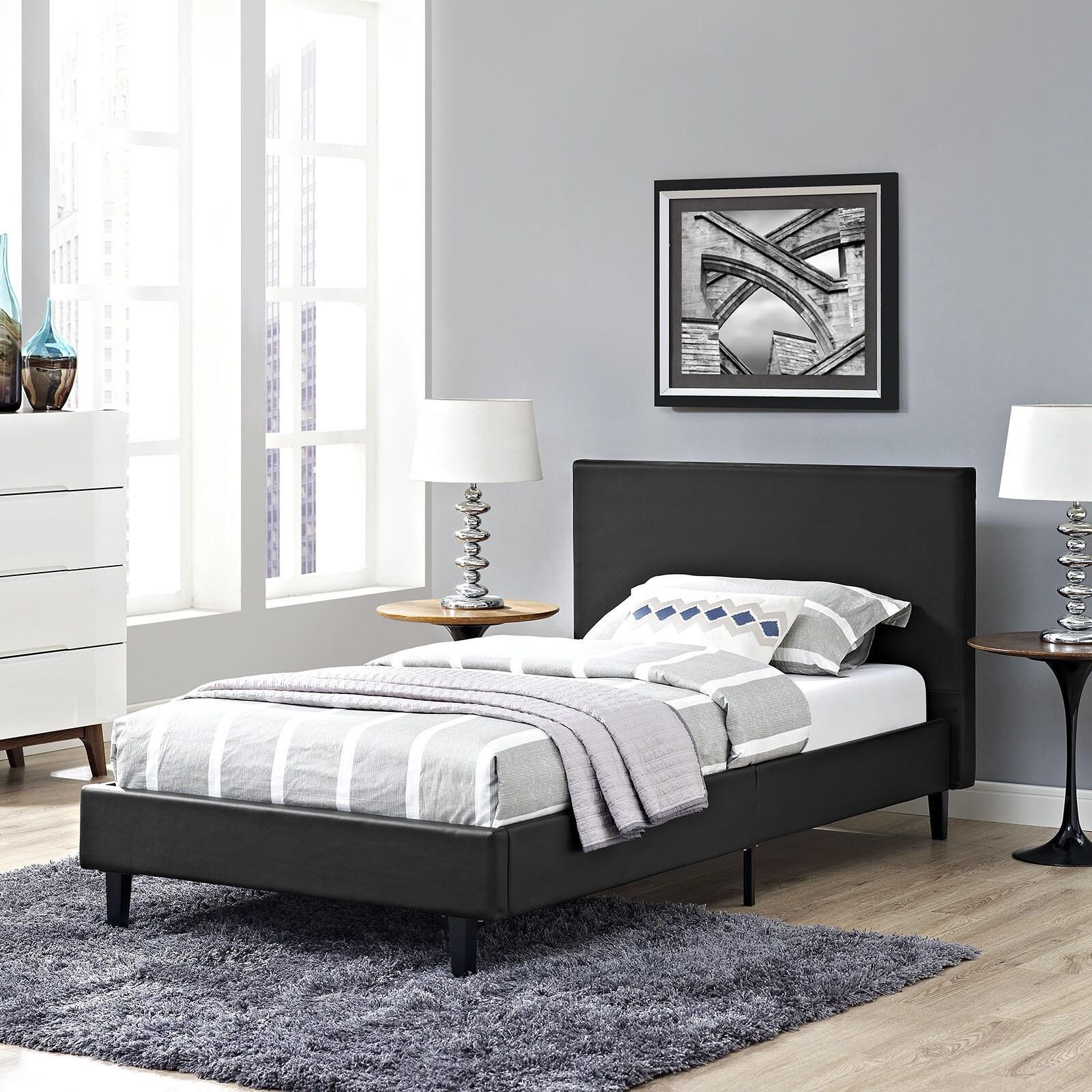 Modway Anya Vinyl Twin-size Platform Bed (White - White F...