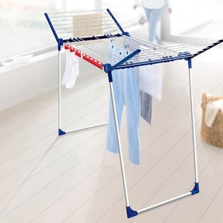Leifheit Varioline Medium Deluxe Winged Clothes Drying Rack with Adjustable Lines, Blue and White