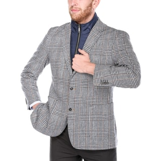 Steve Harvey Men's Navy and Brown Plaid Wool-blend/Polyester 2-button Blazer with Removable Bib 40R (As Is Item)