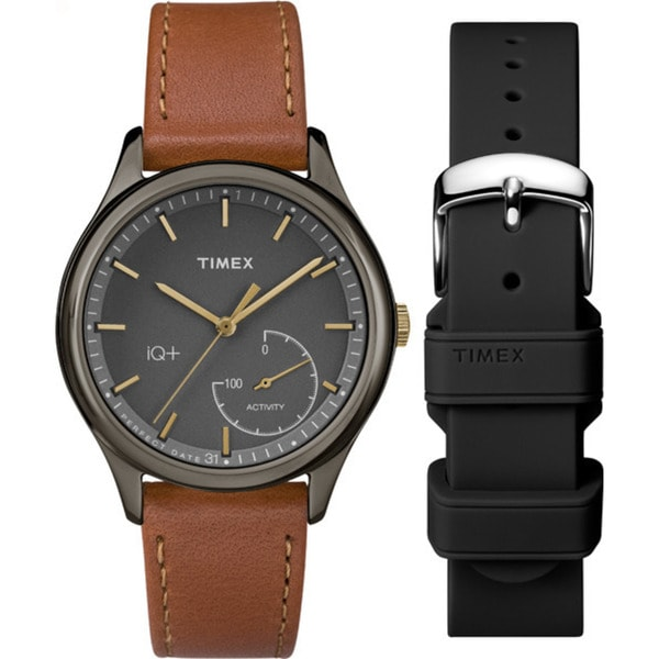 328e287fc83c Shop Timex Women s TWG013800 IQ+ Move Activity Tracker Brown Leather Strap  Watch Set With Extra Black Silicone Strap - Free Shipping Today - Overstock  - ...