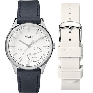 Timex Women's TWG013700 IQ+ Move Activity Tracker Black Leather Strap Watch Set With Extra White Silicone Strap (Option: White)