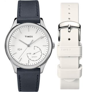Timex Women's TWG013700 IQ+ Move Activity Tracker Black Leather Strap Watch Set With Extra White Silicone Strap https://ak1.ostkcdn.com/images/products/14051074/P20666388.jpg?impolicy=medium