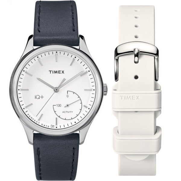 092fba99daf5 Shop Timex Women s TWG013700 IQ+ Move Activity Tracker Black Leather Strap  Watch Set With Extra White Silicone Strap - Free Shipping Today - Overstock  - ...