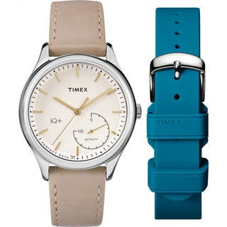 Timex Women's TWG013600 IQ+ Move Activity Tracker Brown Leather Strap Watch Set With Extra White Silicone Strap https://ak1.ostkcdn.com/images/products/14051075/P20666387.jpg?impolicy=medium