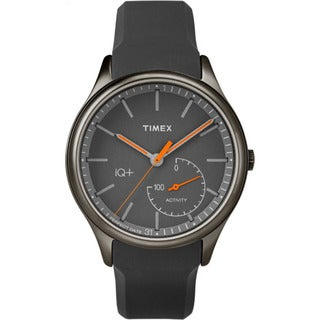 Timex Men's TW2P95000 IQ+ Move Activity Tracker Gray/Black/Orange Silicone Strap Watch
