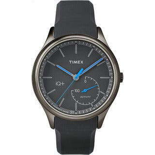 Timex Men's TW2P94900 IQ+ Move Activity Tracker Gray/Black/Blue Silicone Strap Watch