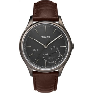 Timex Men's TW2P94800 IQ+ Move Activity Tracker Brown Leather Strap Watch