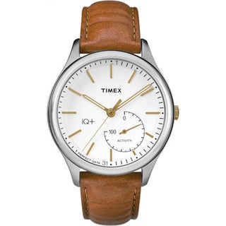 Timex Men's TW2P94700 IQ+ Move Activity Tracker Caramel Brown Leather Strap Watch