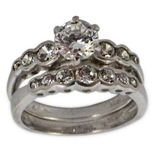 Handmade Sterling Silver Cubic Zirconia Wedding Ring Set