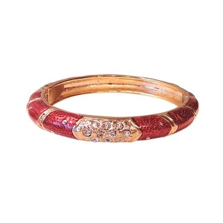 Women's 14k Gold and Red Cloisonne Bangle with CZs