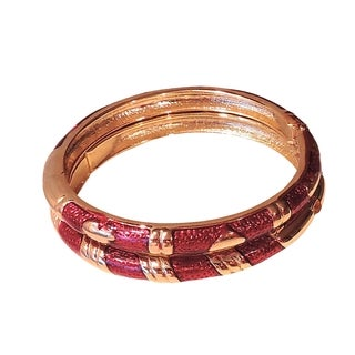 14K Gold and Red Cloisonne 2 Bangle Set