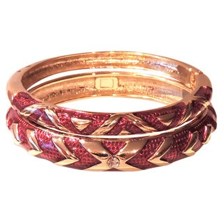 Red and Gold Cloisonne Bangle Bracelet Set