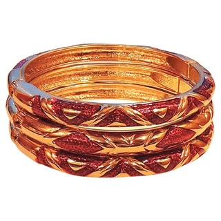 Red and Gold Copper Cloisonne 3 Bangle Set