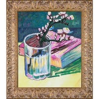 Vincent Van Gogh 'Blossoming Almond Branch in a Glass with a Book, 1888' Hand Painted Framed Oil Reproduction on Canvas