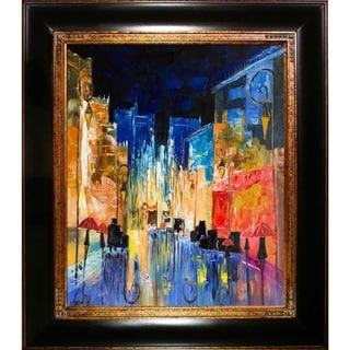 Justyna Kopania 'Street' Hand Painted Framed Oil Reproduction