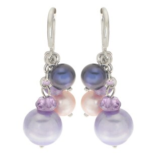 Pearls For You White Sterling Silver Freshwater Pearl and Amethyst Cluster Earrings