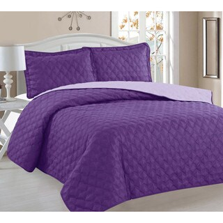 Sara Embroidered Reversible Full/Queen 3-Piece Quilt Set