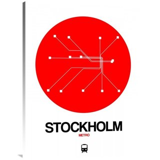 NAXART Studio 'Stockholm Red Subway Map' Stretched Canvas Wall Art