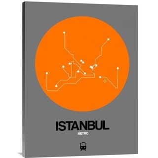 NAXART Studio 'Istanbul Orange Subway Map' Stretched Canvas Wall Art