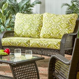 Deep seat Outdoor loveseat cushion - Green Ikat