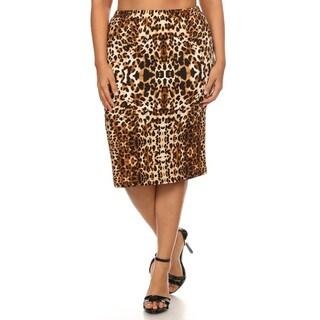 Women's Brown Spandex Plus Size Leopard Pattern Pencil Skirt