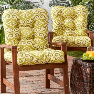 Outdoor Seat/ Back Green Ikat Chair Cushion (Set of 2)