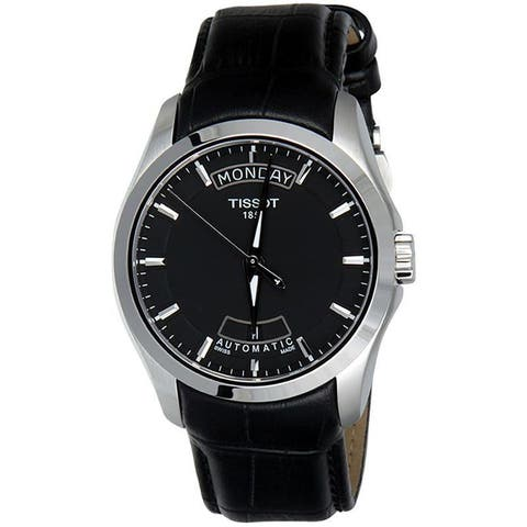 Tissot Men's T0354071605100 'Couturier' Automatic Black Leather Watch