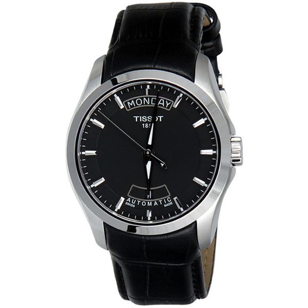 Shop Tissot Men s T0354071605100  Couturier  Automatic Black Leather ... 1fe5c855e57