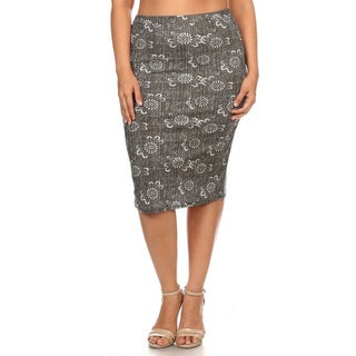 Women's Grey and White Plus-size Floral Pencil Skirt
