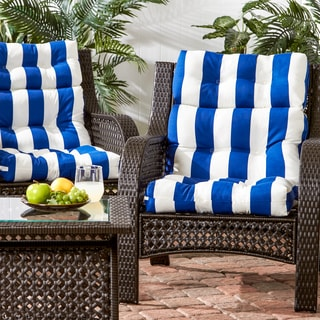Outdoor High Back Cabana Stripe Chair Cushion (Set of 2)