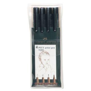 Pitt Artist Sepia Pen Wallet Set (2 Packs of 4)