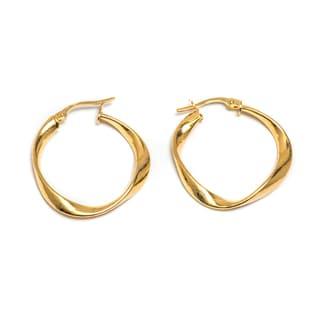 Pori 14k Solid Gold Twisted Hoop Earrings