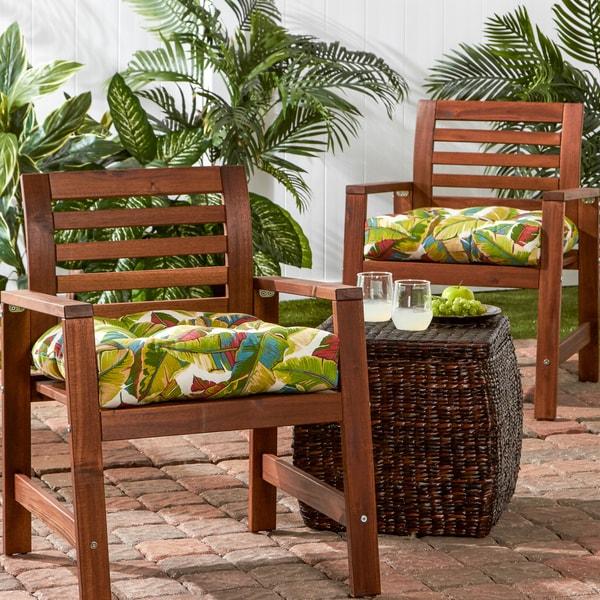 Porch & Den Rosewood Hamilton 20-inch Outdoor Palm Leaves Chair Cushion  (Set - Shop Porch & Den Rosewood Hamilton 20-inch Outdoor Palm Leaves Chair