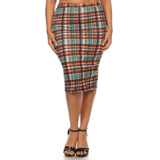 Women's Plus Size Plaid Solid Knit High-waist Pencil Skirt