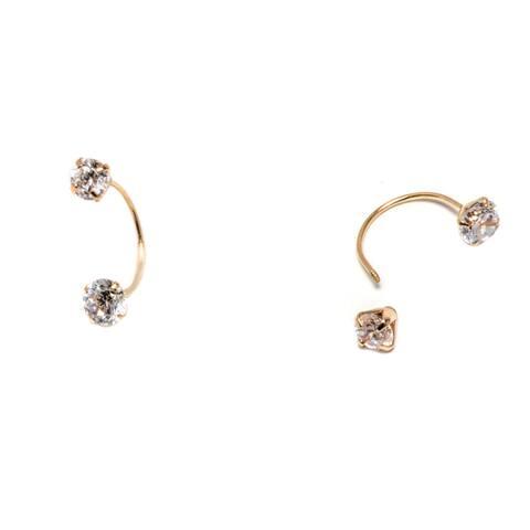 Pori 14k Solid Gold Swarovski Crystals Screw-back Jacket Earrings